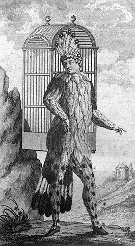 Schikaneder als Papageno. Titelblatt der Erstausgabe des Librettos der Zauberflöte, 1791